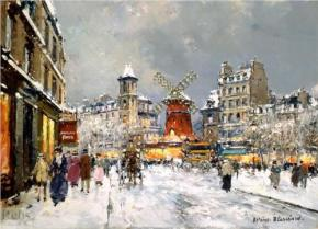 """""""Moulin Rouge, a Pigalle Sous la Neige""""  Painting by Antoine Blanchard   At wikipaintings.org"""