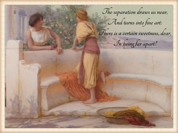 The Love Story by Henry Ryland. This artwork depicts two Ancient Greek women, a blonde and a brunette, chatting on a marble terrace overlooking the sea.