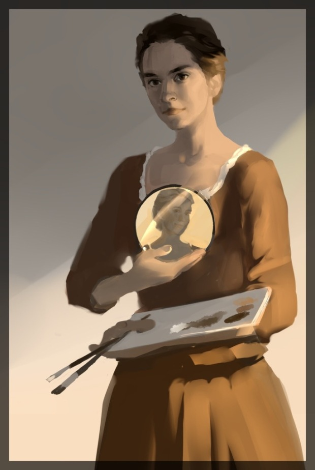 This digital painting depicts a woman-artist, holding a round mirror in one hand and a palette with two brushes in the other. The young lady reflecting in the mirror, her model, is smiling at the painter lovingly.