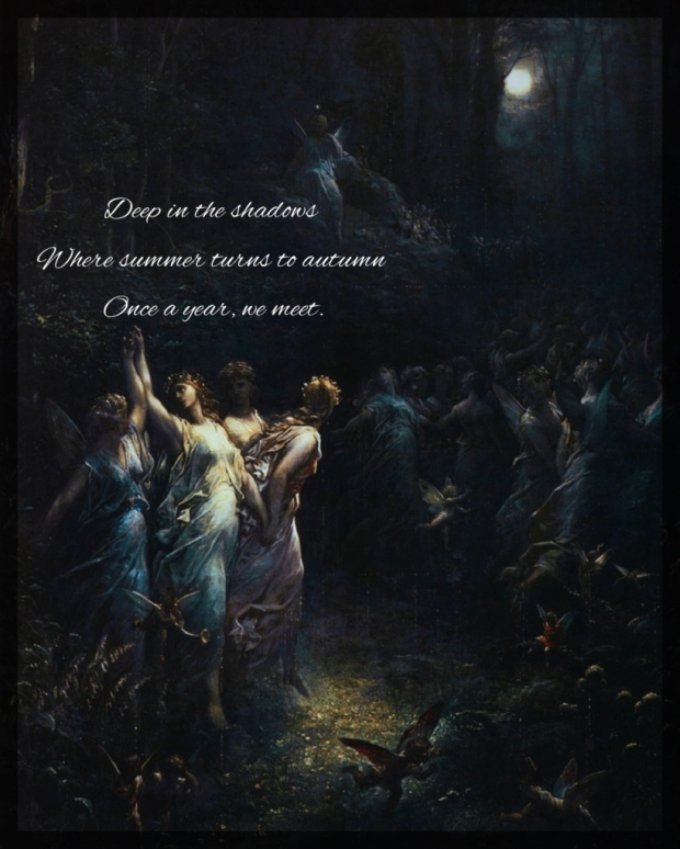 This painting depicts a group of fairies from a Shakespearean tale dancing in the forest at night.