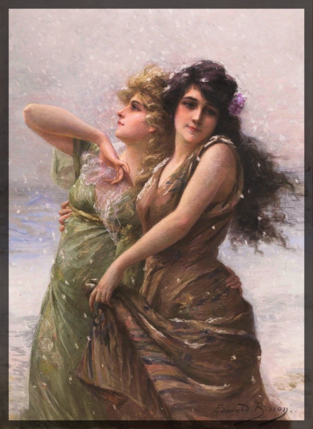 """Two women embracing in a snowstorm, a painting by Édouard Bisson called """"Winter."""""""
