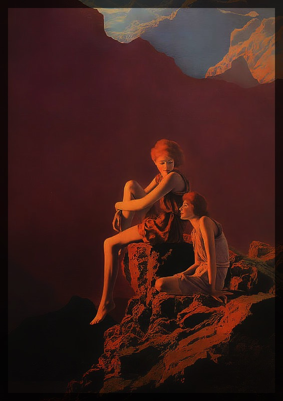 Two young women are sitting on the precipice. One of them looks at the sunset, while the other one gazes at her tenderly. There is a mountain landscape behind them.